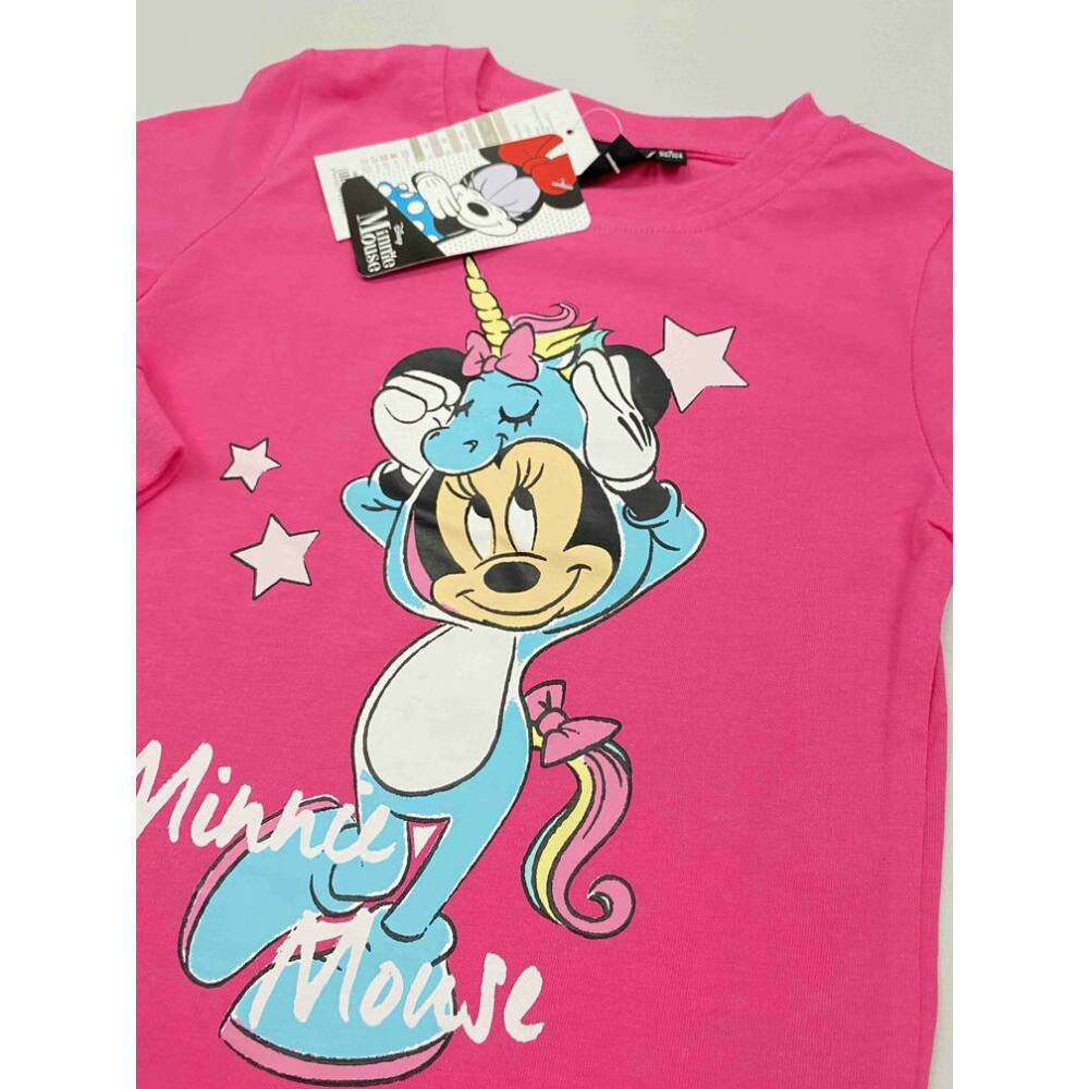 Kislány pamut rózsaszín felső pizsama Minnie filmnyomott motívummal közeli