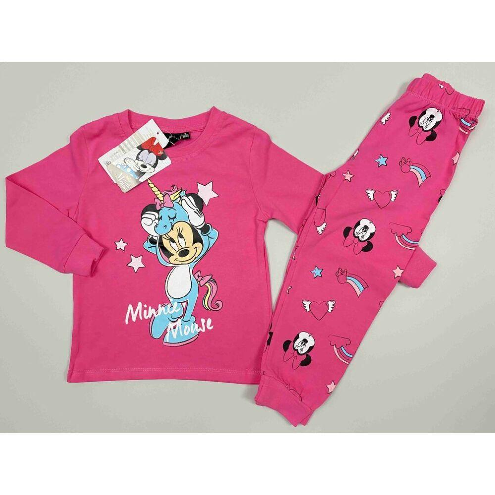 Kislány pamut rózsaszín kétrészes pizsama Minnie filmnyomott motívummal