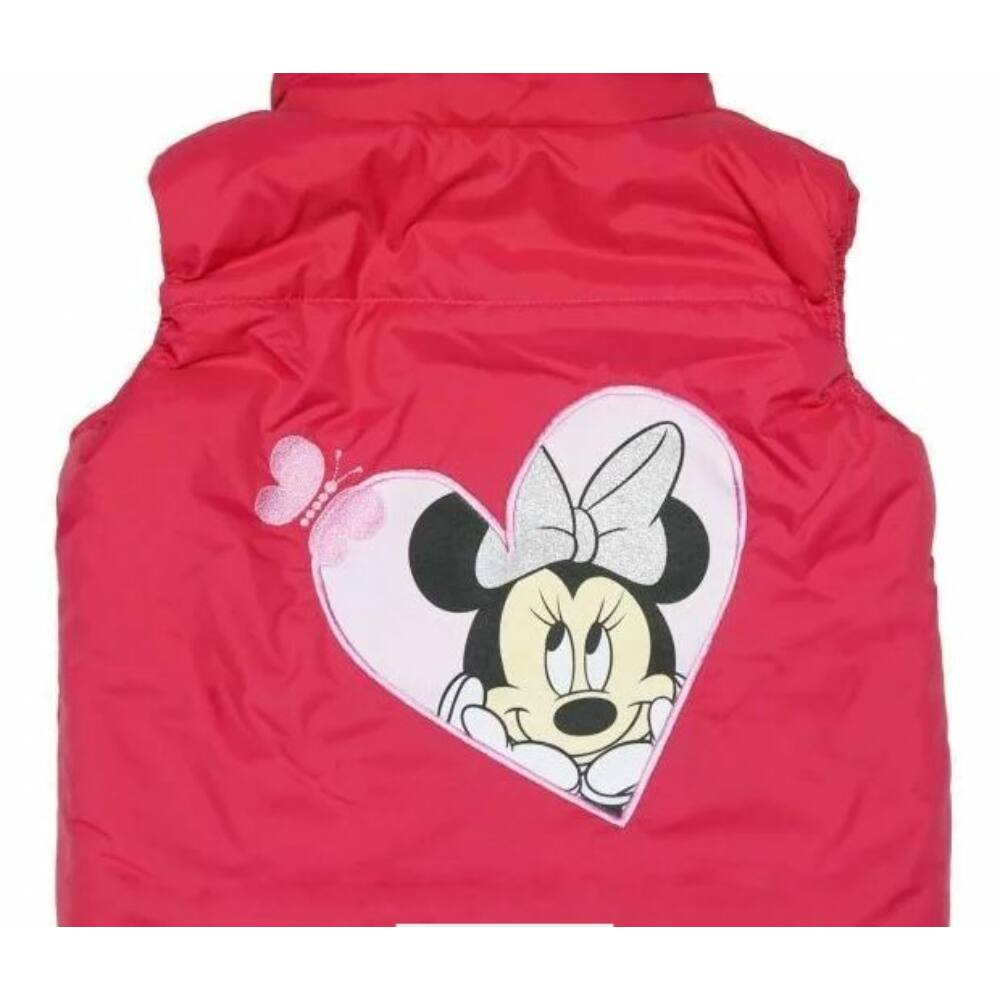 Minnie hímzéssel díszített bélelt rózsaszín kislány zsebes mellény hátoldala