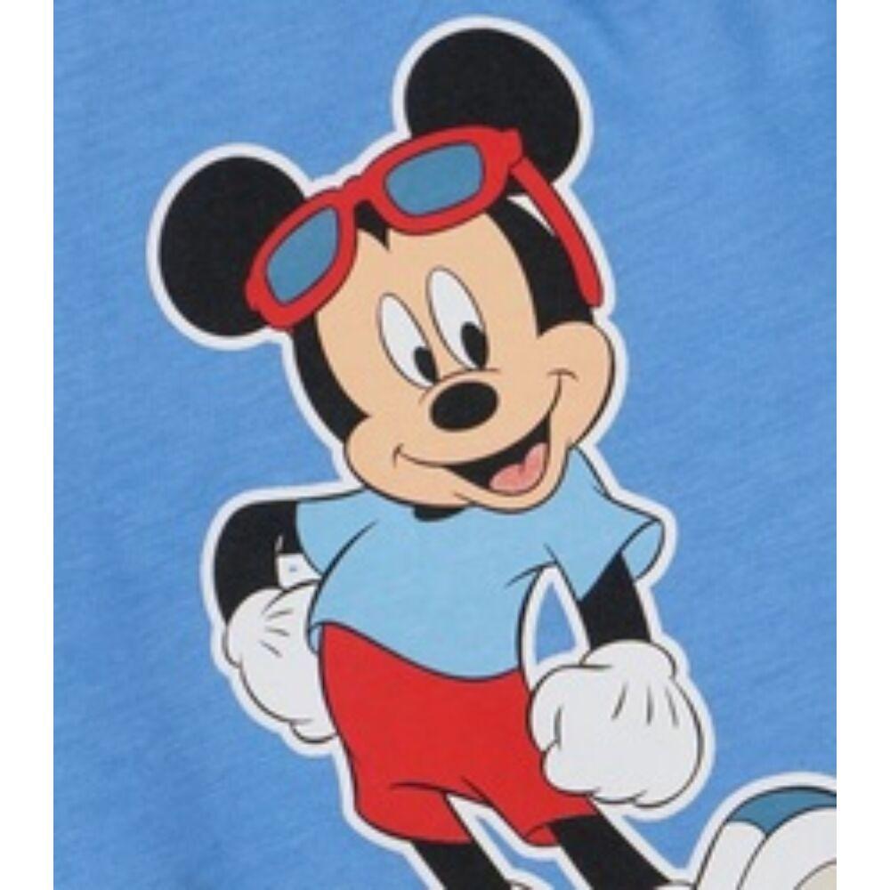 Disney kisfiú pamut rövidnadrág világoskék elején Mickey nyomott minta közeli.
