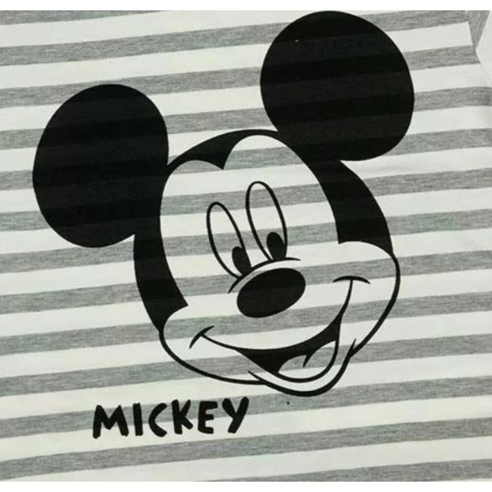 Mickey mintás rövid ujjú csíkos kisfiú pamut póló közeli.