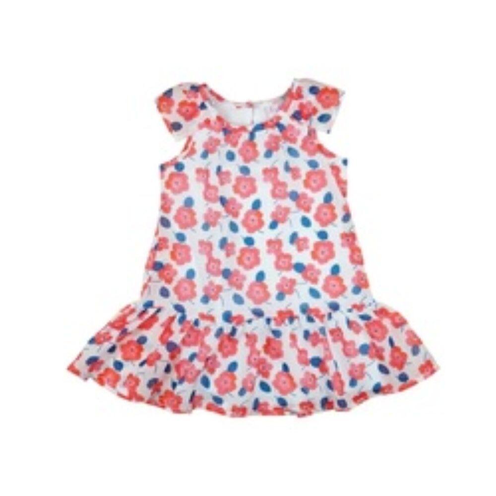 Virágos muszlin anyagból varrt kislány ruha