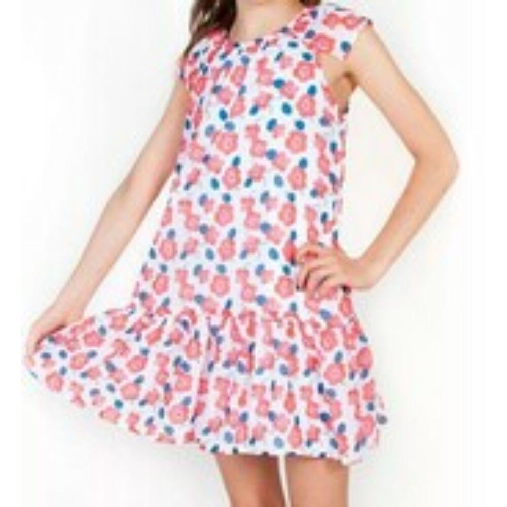 Virágos muszlin anyagból varrt lányka ruha