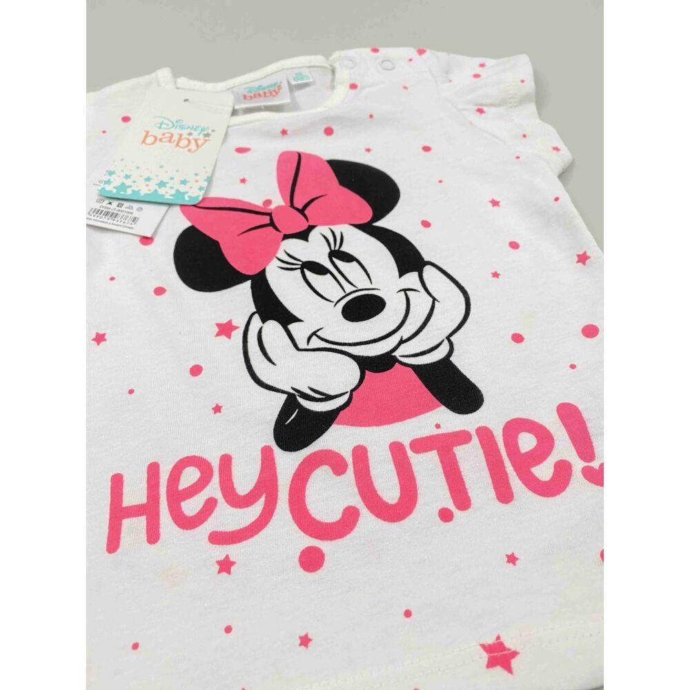 Kislány Disney rövid ujjú fehér alapon Minnie filmnyomott motívummal és hey cutie! felirattal, közeli kép