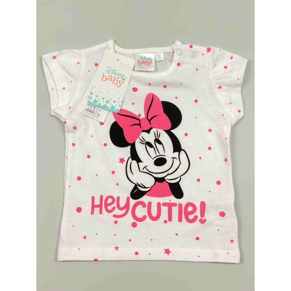 Kislány Disney rövid ujjú fehér alapon Minnie filmnyomott motívummal és hey cutie! felirattal