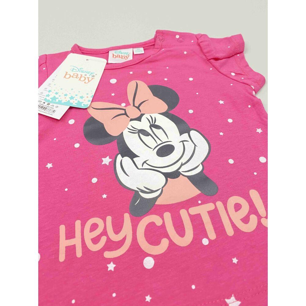 Kislány Disney rövid ujjú rózsaszín alapon Minnie filmnyomott motívummal és hey cutie! felirattal, közeli kép