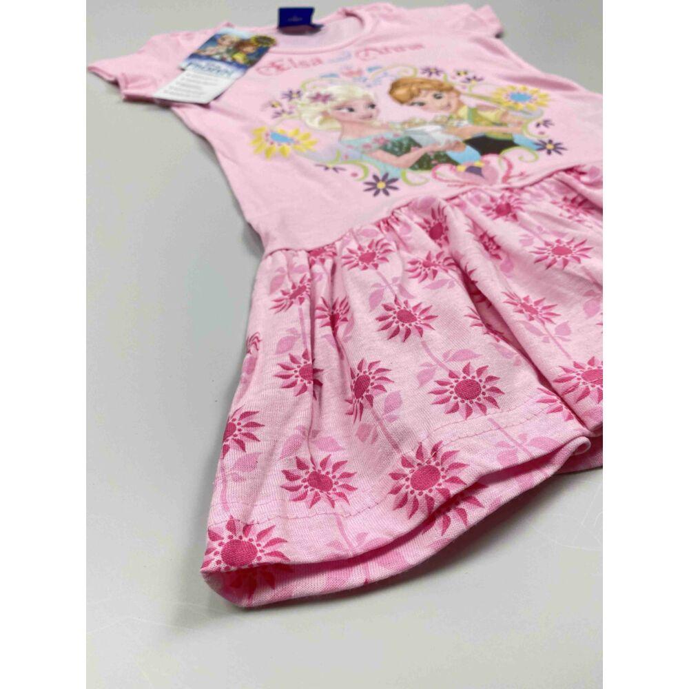 Kislány rózsaszín alapon Jégvarázs ruha Elza és Anna színes filmnyomott motívummal, közeli kép szoknyáról.