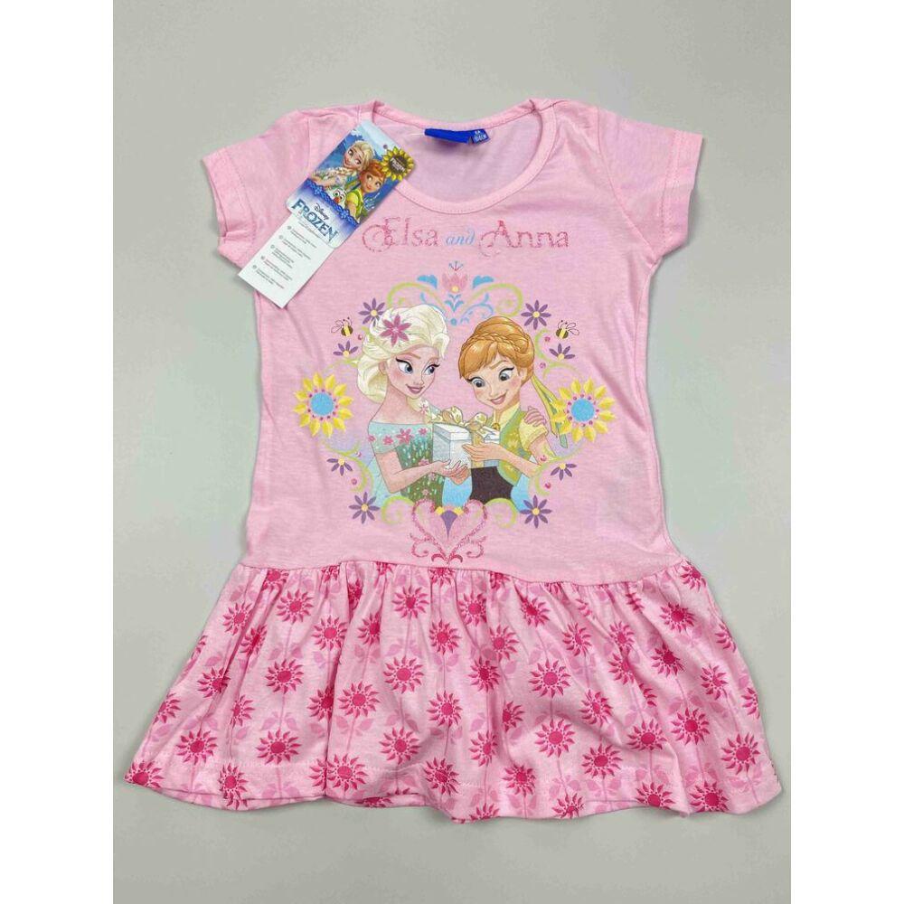 Kislány rózsaszín alapon Jégvarázs ruha Elza és Anna színes filmnyomott motívummal