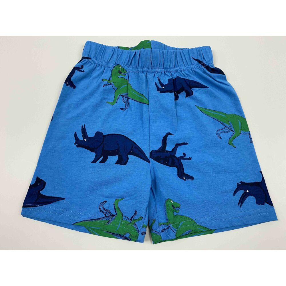Kisfiú kék alapon rövid nadrág filmnyomott Jurassic, dino motívumokkal