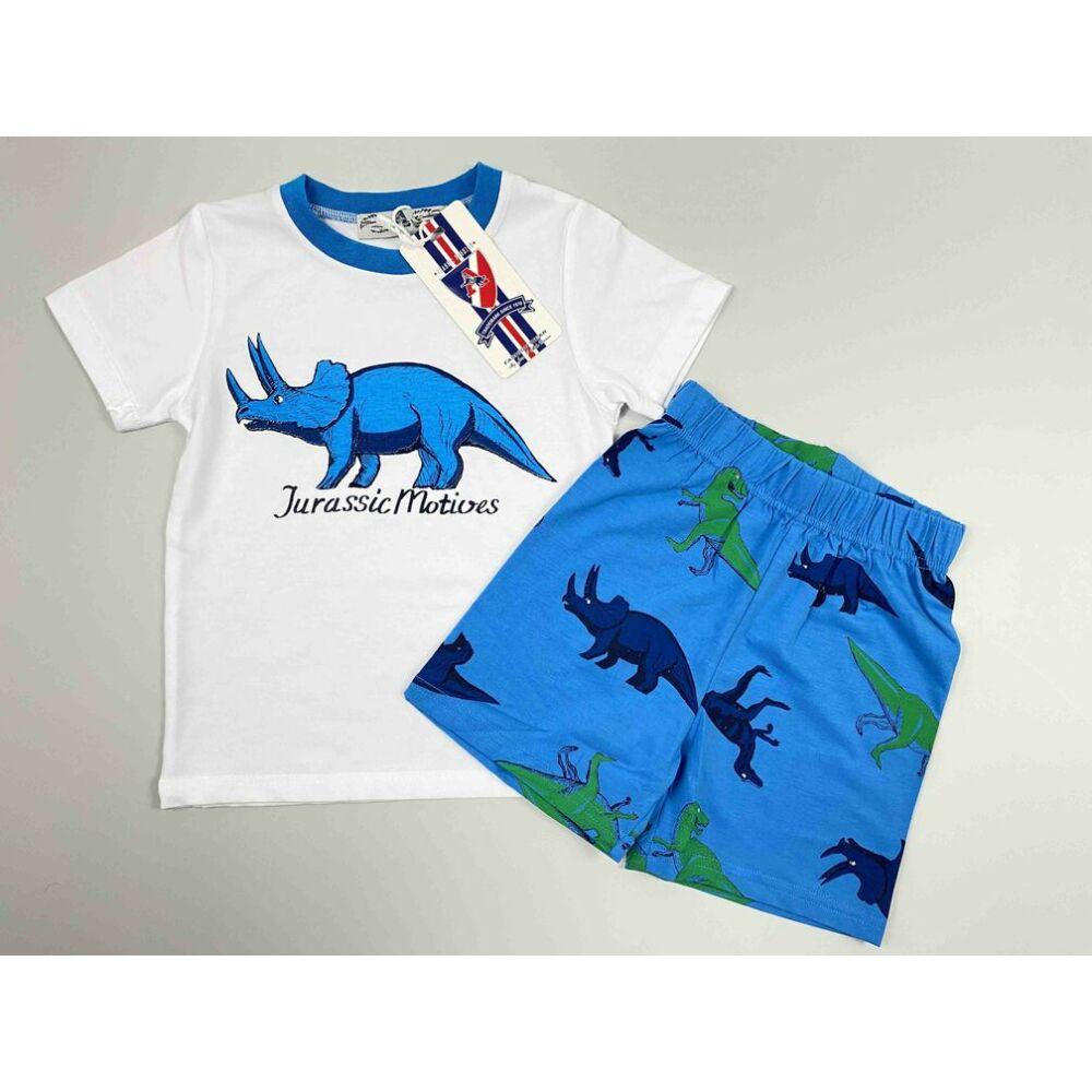 Kisfiú kétrészes szett fehér alapon rövid ujjú felső és kék alapon rövid nadrág filmnyomott Jurassic motívumokkal és felirattal