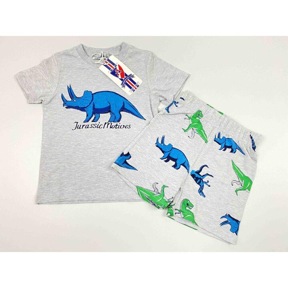Kisfiú kétrészes szett szürke alapon rövid ujjú felső és szürke alapon rövid nadrág filmnyomott Jurassic motívumokkal és felirattal