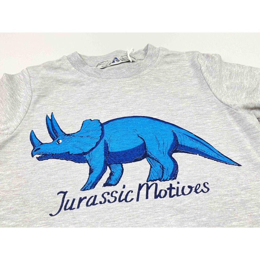 Kisfiú szürke alapon rövid ujjú felső filmnyomott Jurassic, dino motívummal és felirattal, közeli kép.