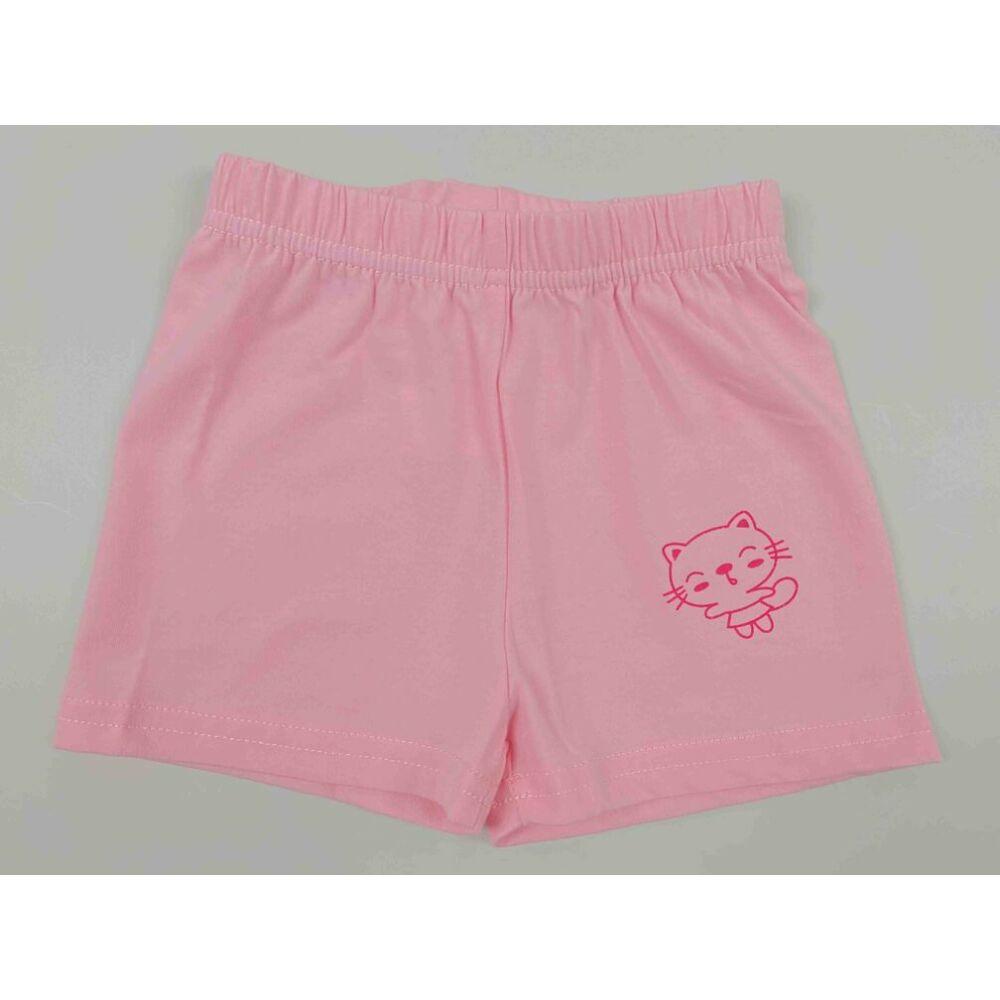 Kislány babarózsaszín nyári rövid nadrág filmnyomott cicás motívummal.