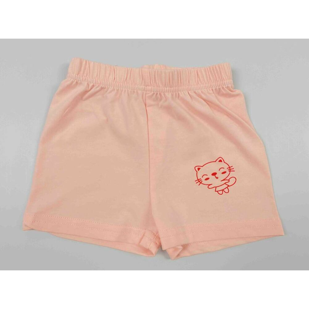 Kislány barack színű nyári rövid nadrág filmnyomott cicás motívummal