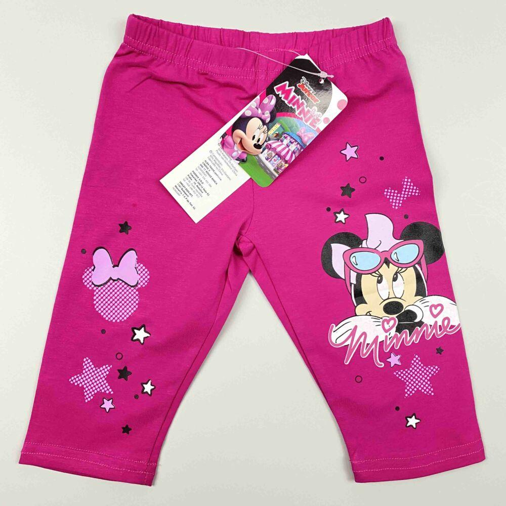 Disney magenta színű háromnegyedes pamut nyári legging, lábán Minnie filmnyomott minta