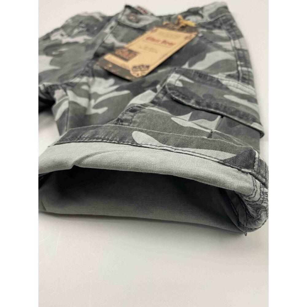 Kisfiú szürke terepmintás farmer rövidnadrág zsebekkel belső kép.