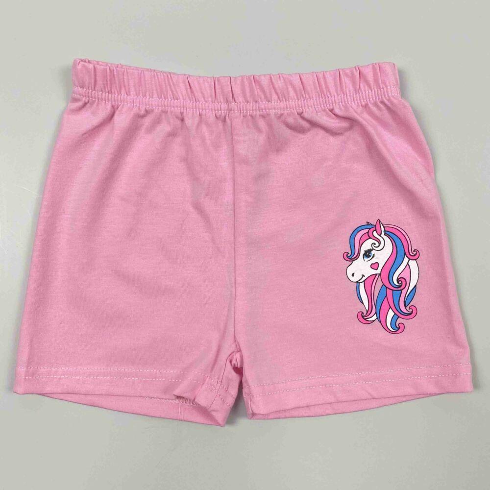 Kislány rózsaszín nyári rövid szett, filnyomott csillámpónismintával nadrág.