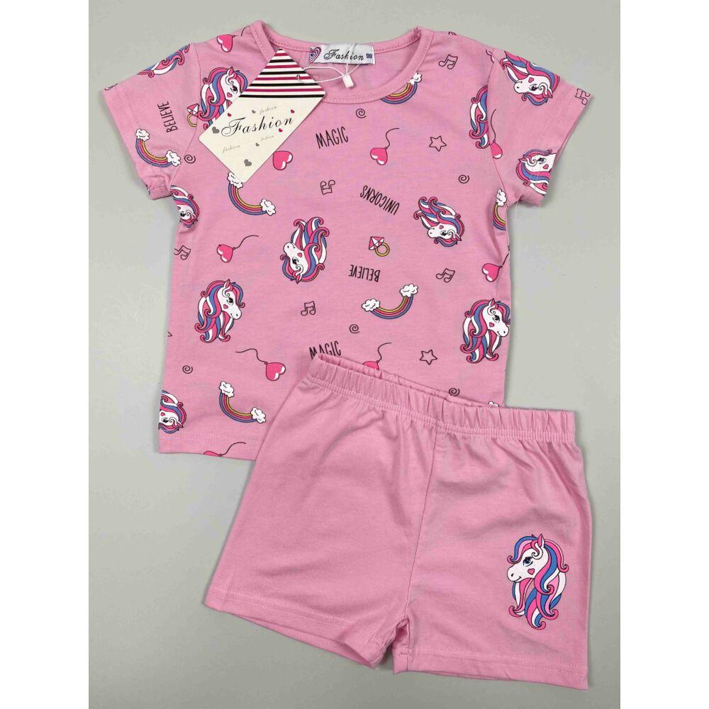 Kislány rózsaszín nyári rövid szett, filnyomott csillámpónismintával.