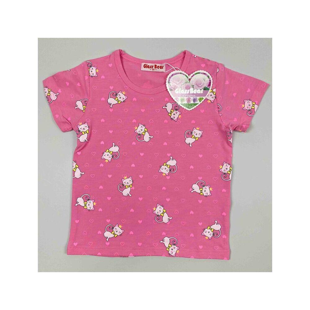 két részes kislány vékony nyári pizsama rózsaszín alapon fehér cica mintával felső rész.