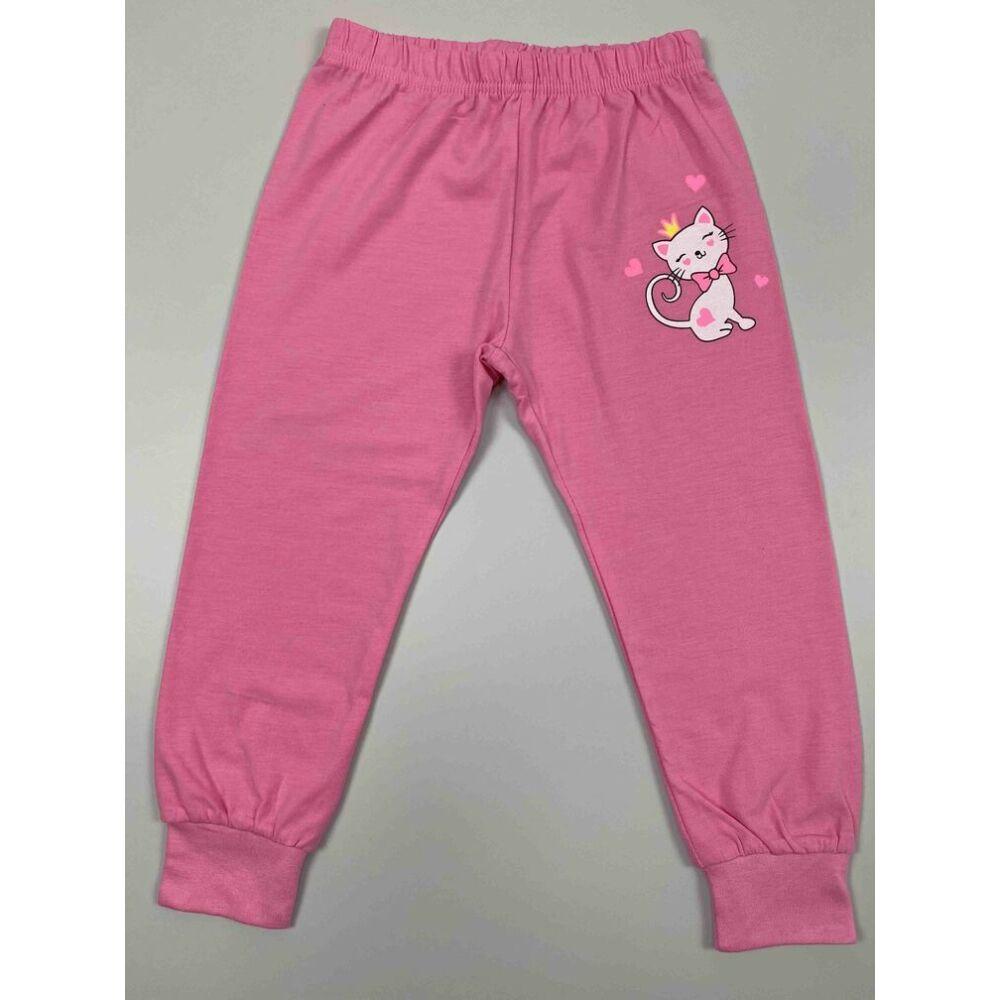 két részes kislány vékony nyári pizsama rózsaszín alapon fehér cica mintával nadrág