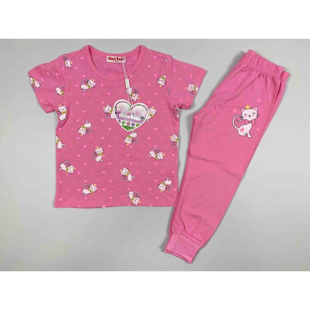 két részes kislány vékony nyári pizsama rózsaszín alapon fehér cica mintával.