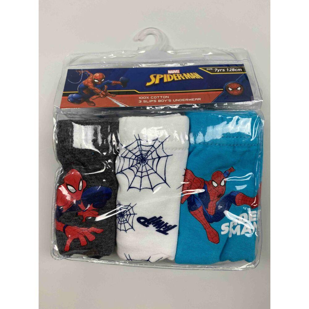 Kisfiú alsó bugyi három színben (világos kék, fehér, sötét szürke) pókemberes filmnyomott motívummal, csomagolásban