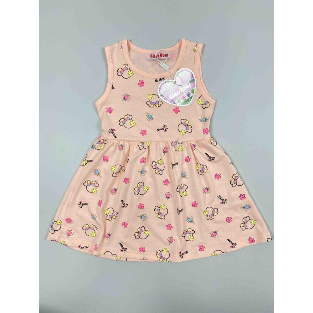 Kislány ruha barack színű alapon Minnie fejes motívumokkal music felirattal.