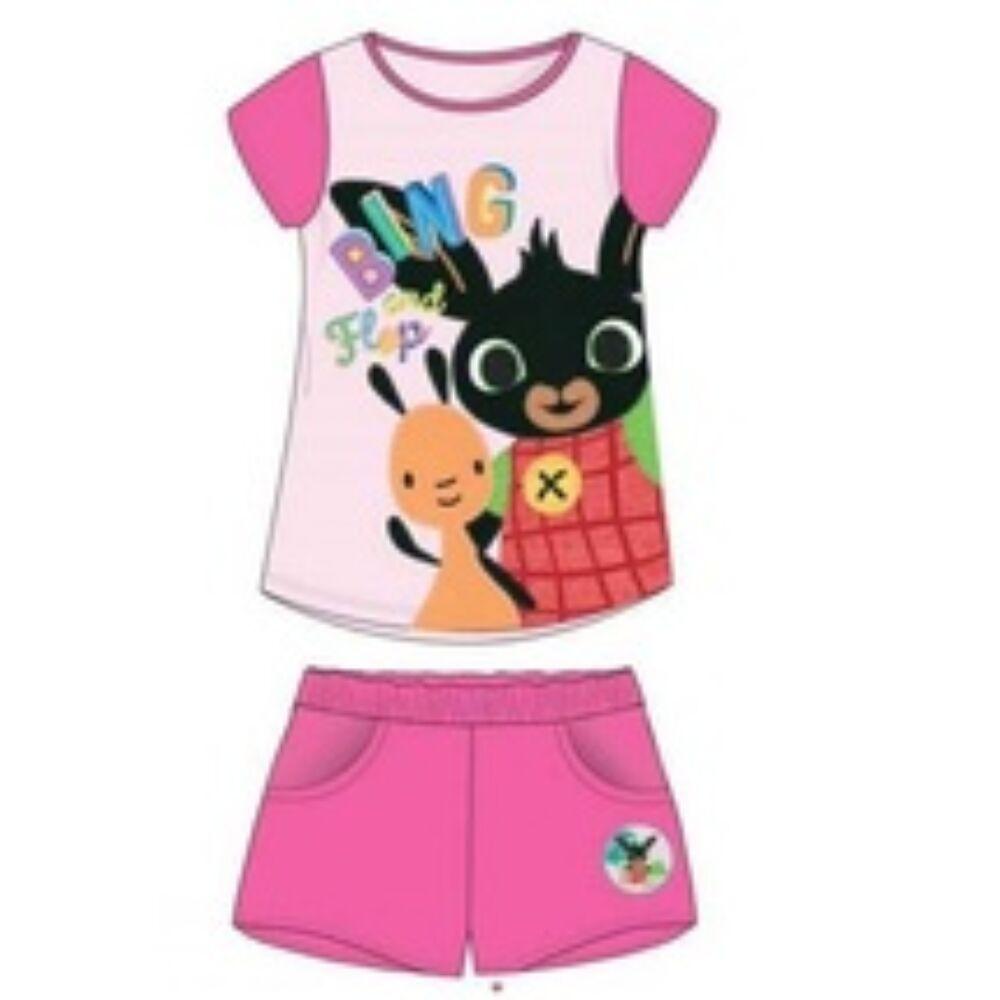 Bing nyuszi és Flop kislány nyári két részes pamut szett nadrágján zsebekkel