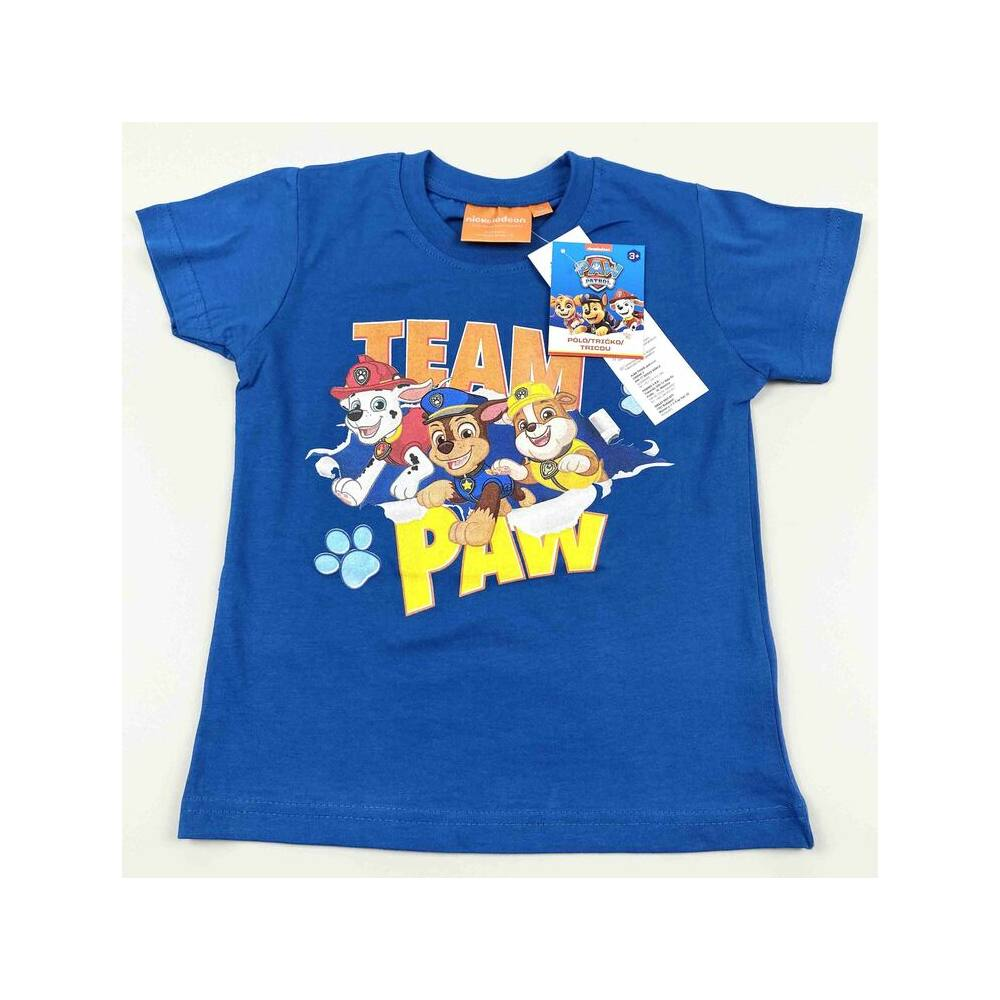Mancs őrjárat mintás kisfiú rövid ujjú kék pamut póló.