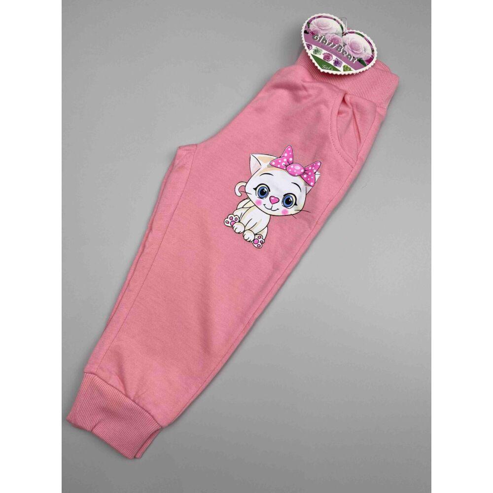 Babarózsaszín, magas pamuttartalmú cica mintás kislány szabadidő nadrág, elején zsebekkel, dereka humis, passzés szárvéggel.