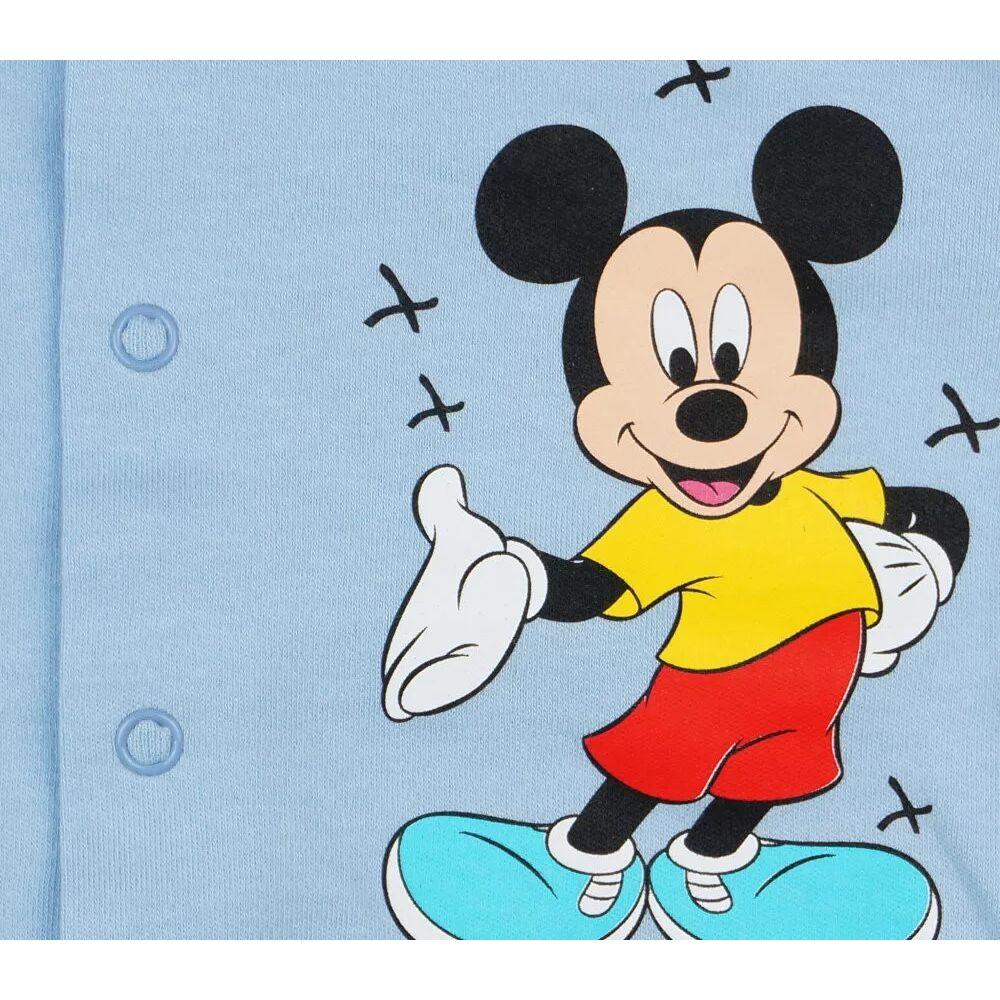 Disney Mickey baba kocsikabát Vékony, pamut anyagból készült elején végig patentos baba kardigán, világoskék, közeli kép.