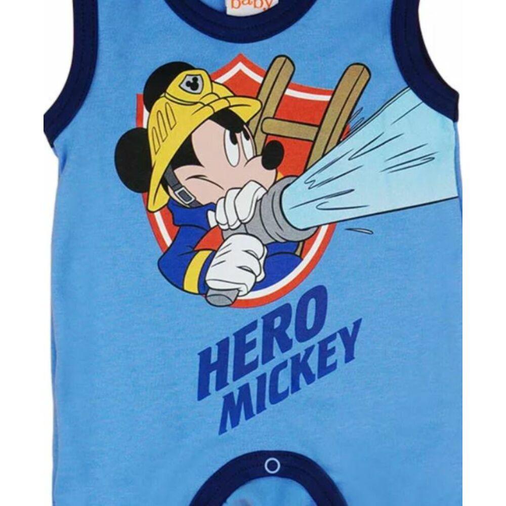 Disney Mickey mintával nyomott, ujjatlan, vállon patentos pamut rugdalózó kék színű, közeli kép.