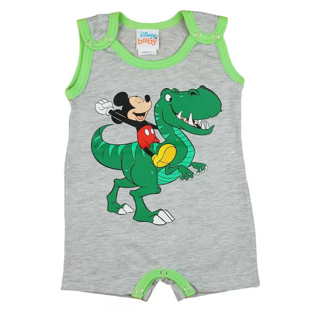 Disney Mickey mintával nyomott, vállon patentos ujjatlan baba napozó, szürke színű, elején filmnyomott dínós minta
