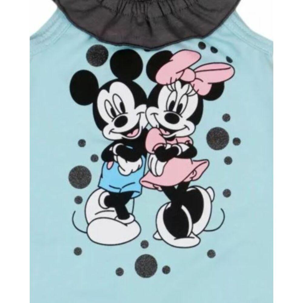 Disney Minnie és Mickey filmnyomott mintás ujjatlan lányka fodros rugdalózó, világoskék, közeli kép.