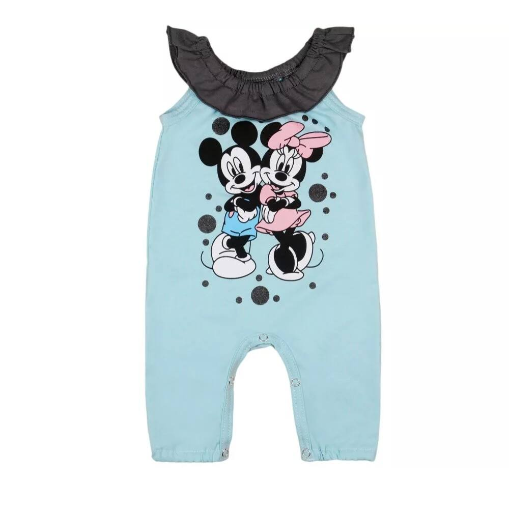 Disney Minnie és Mickey filmnyomott mintás ujjatlan lányka fodros rugdalózó, világoskék.