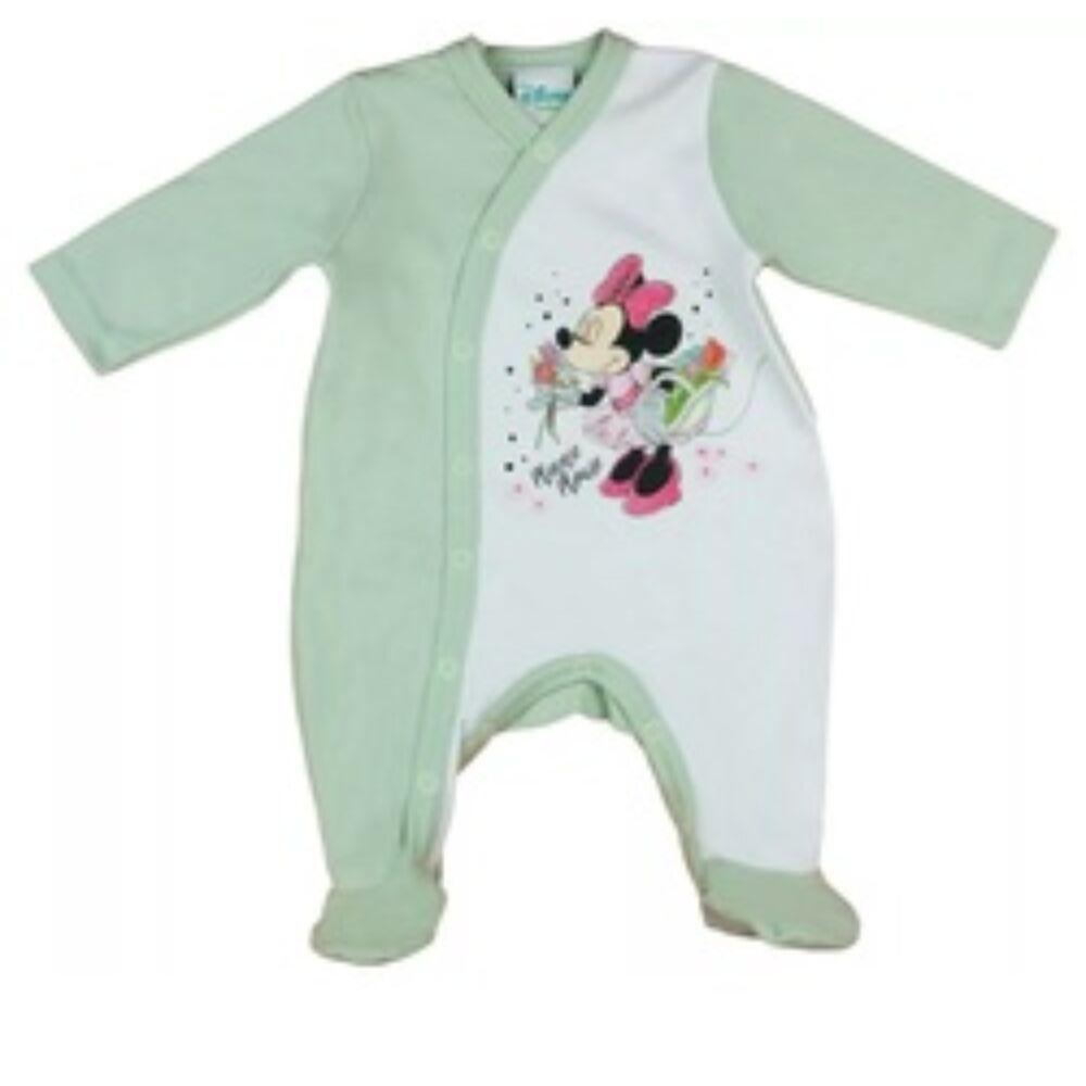 Disney Minnie elől végig pantentos pamut baba rugdalózó zöld színű.