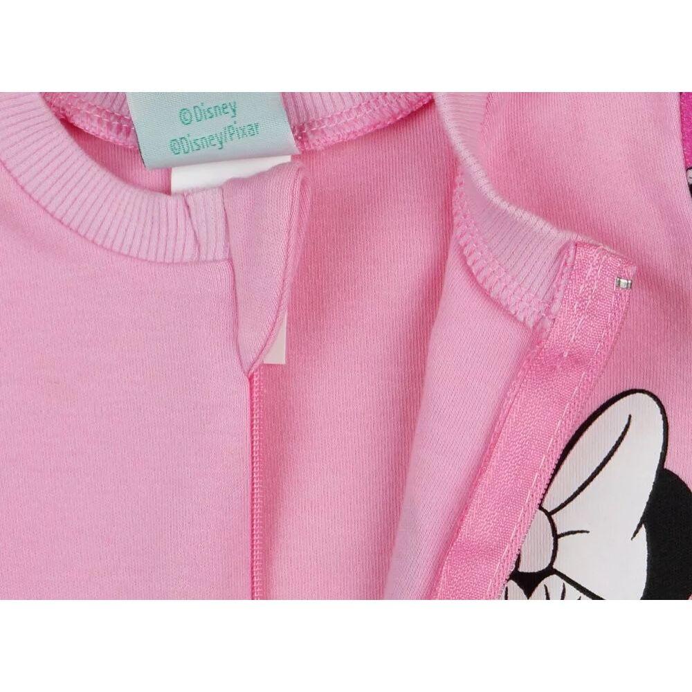 Disney Minnie mintával nyomott, hosszú ujjú, rózsaszín, pamut, cipzáras rugdalózó. Nyakánál cipzártakaróval, közeli kép a cipzárról