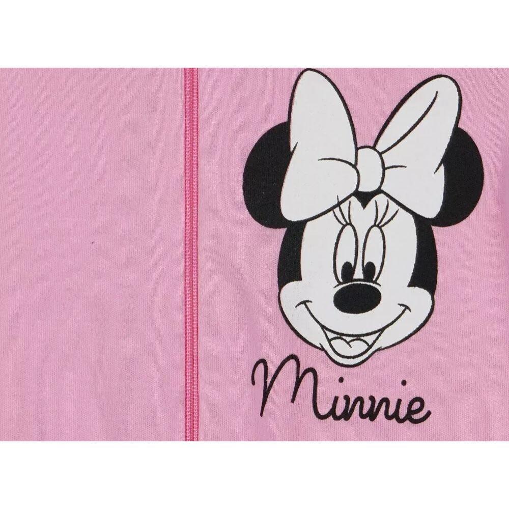 Disney Minnie mintával nyomott, hosszú ujjú, rózsaszín, pamut, cipzáras rugdalózó. Nyakánál cipzártakaróval, közeli kép