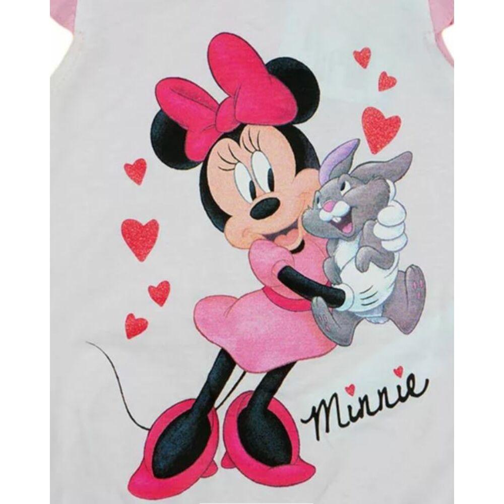 Disney Minnie mintával nyomott, ujjatlan, a vállán fodorral díszített, hátul patentos baba napozó, rózsaszín és fehér színű, közeli kép.