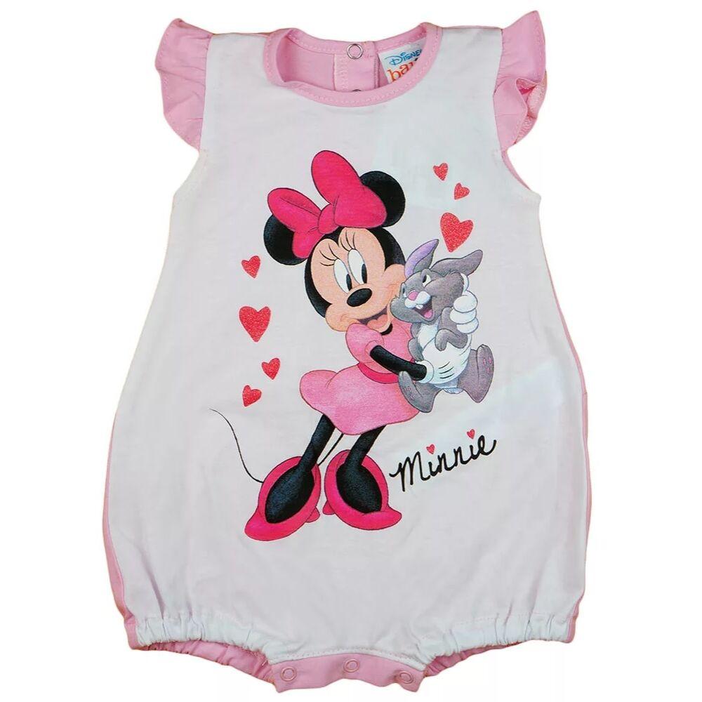 Disney Minnie mintával nyomott, ujjatlan, a vállán fodorral díszített, hátul patentos baba napozó, rózsaszín és fehér színű.