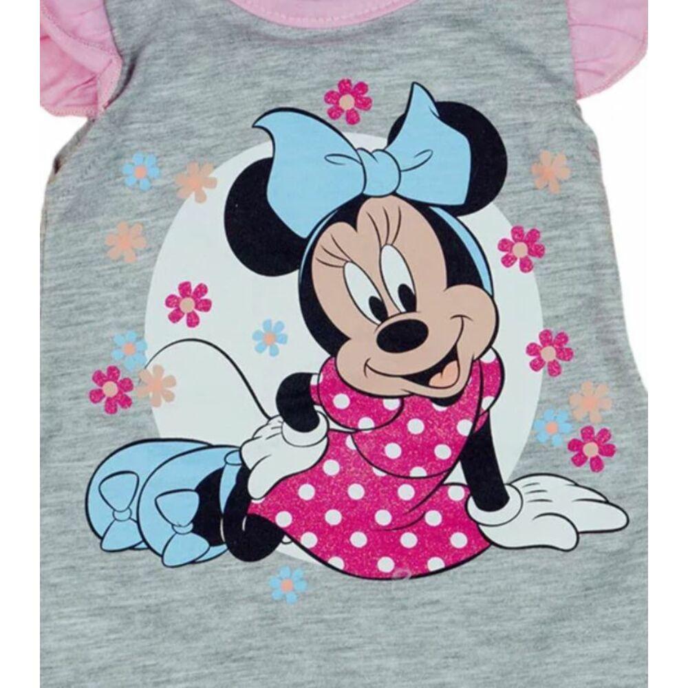 Disney Minnie mintával nyomott, ujjatlan, a vállán fodros, hátul patentos baba napozó. szürke, közeli kép.