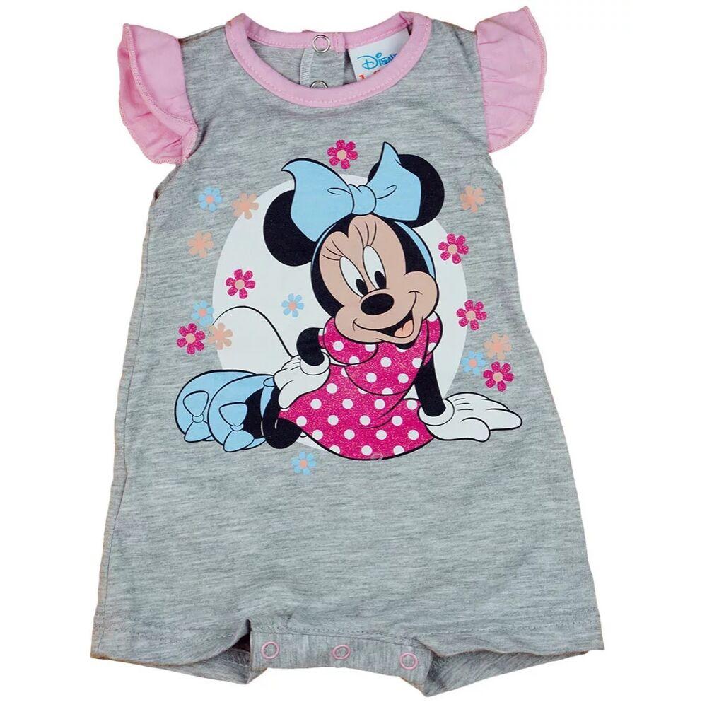 Disney Minnie mintával nyomott, ujjatlan, a vállán fodros, hátul patentos baba napozó. szürke.