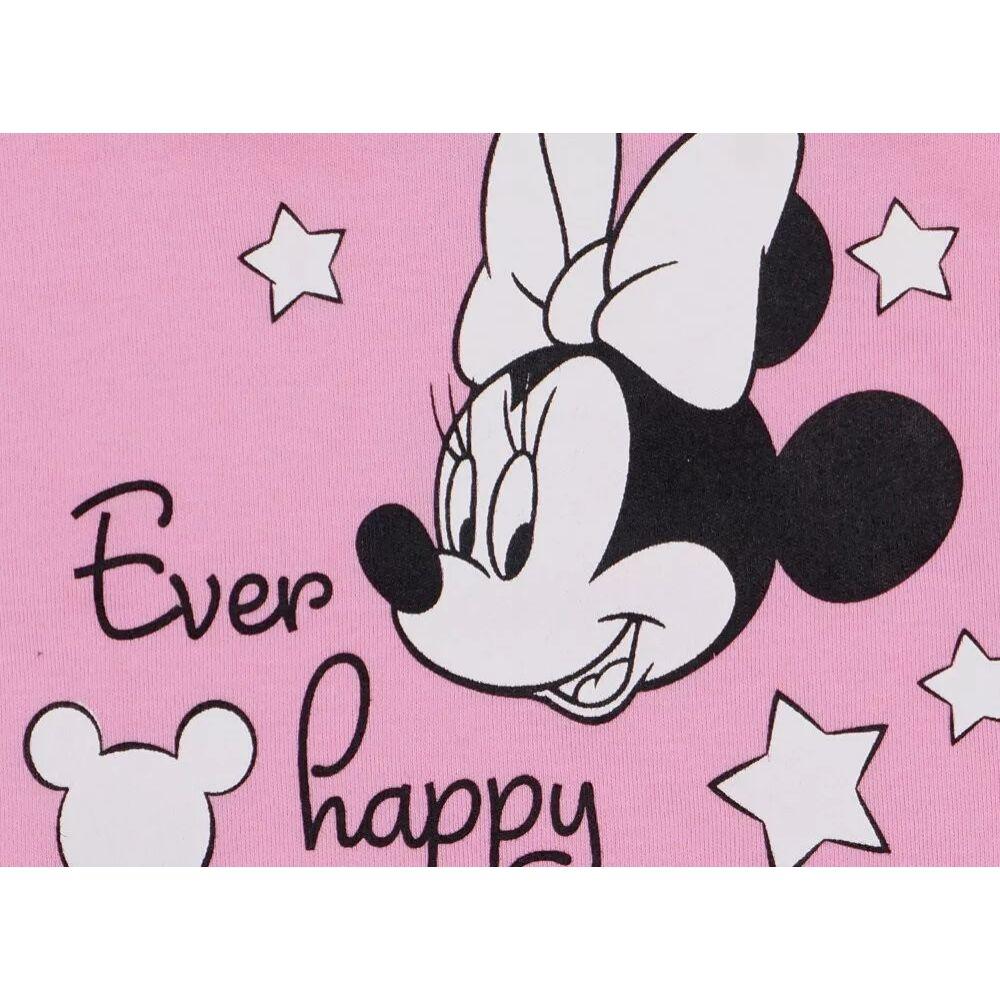 Disney Minnie mintával nyomott, vállon és lábszáron patentos könnyű pamut rugdalózó. Lábfej nélküli, minta közeli kép