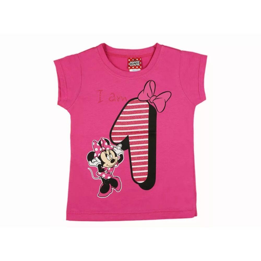 Disney Minnie szülinapos póló - 1 éves szülinapra Minnie mintával nyomott, glitteres, rózsaszín.