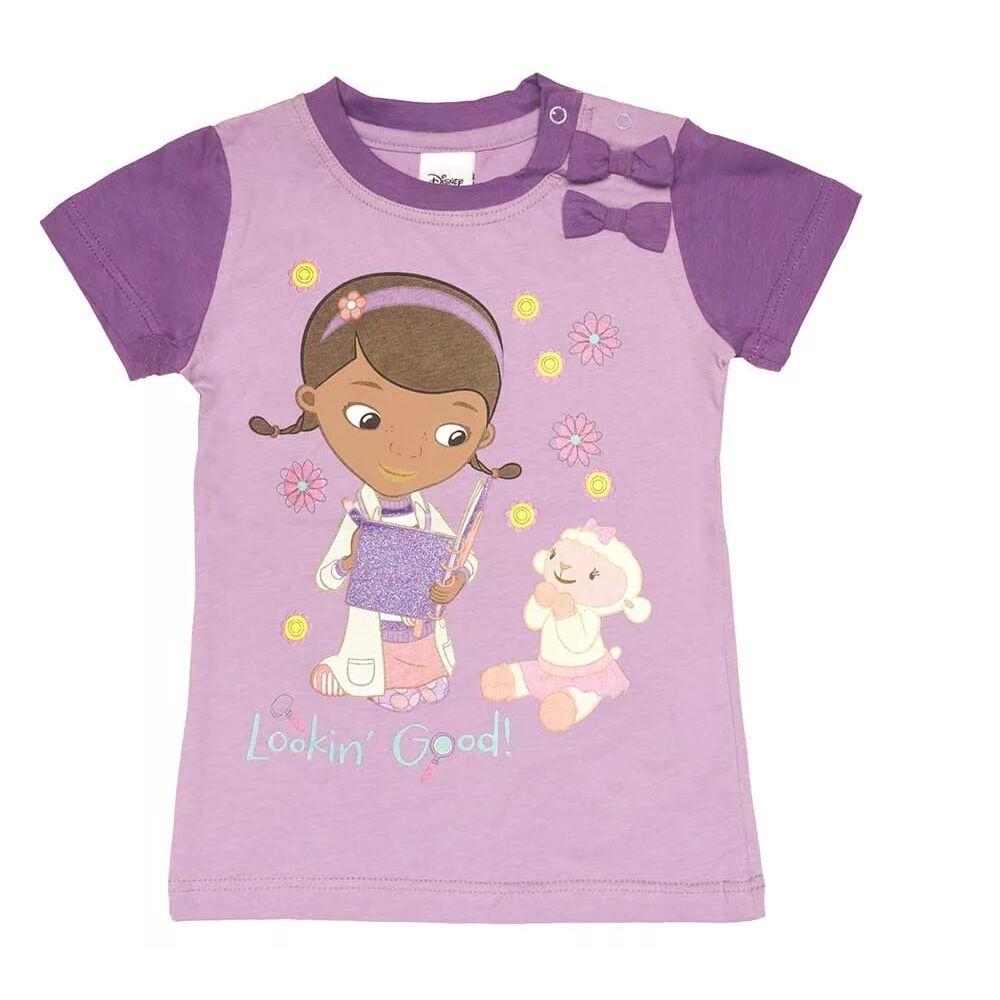 Disney pamut kislány masnis póló, lila színű, elején Dr. Plüssi filmnyomott mintával.