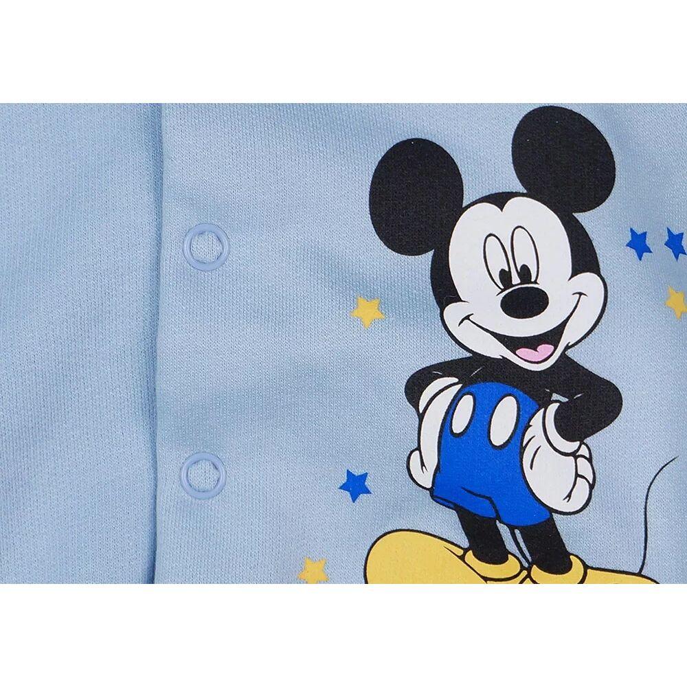 Disney világoskék színű Mickey mintával nyomott, belül bolyhos, elöl patentos baba kocsikabát kisfiúknak, közeli.