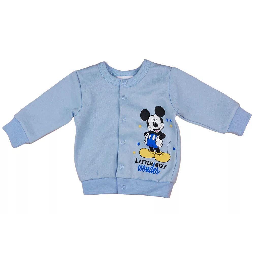 Disney világoskék színű Mickey mintával nyomott, belül bolyhos, elöl patentos baba kocsikabát kisfiúknak.
