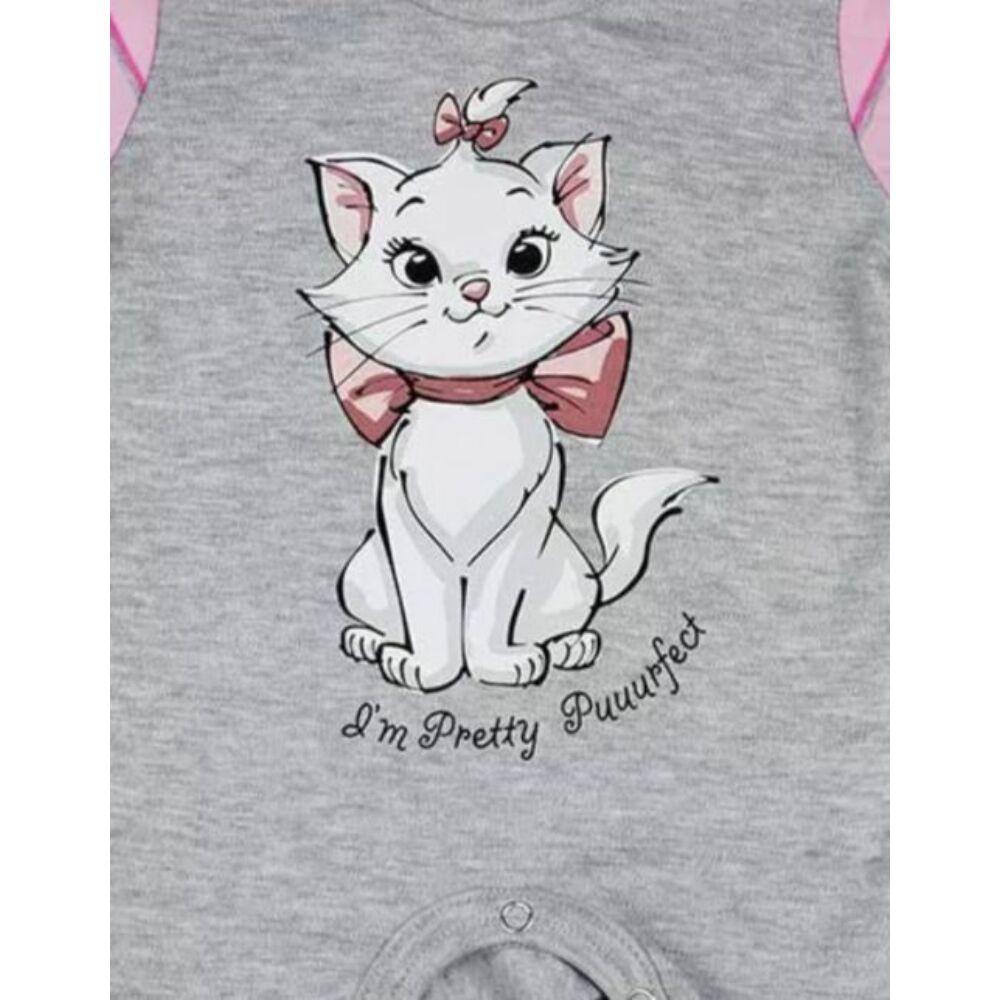 Marie cica mintával nyomott, vállon patentos hosszú ujjú vékony pamut rugdalózó, szürke, közeli kép.
