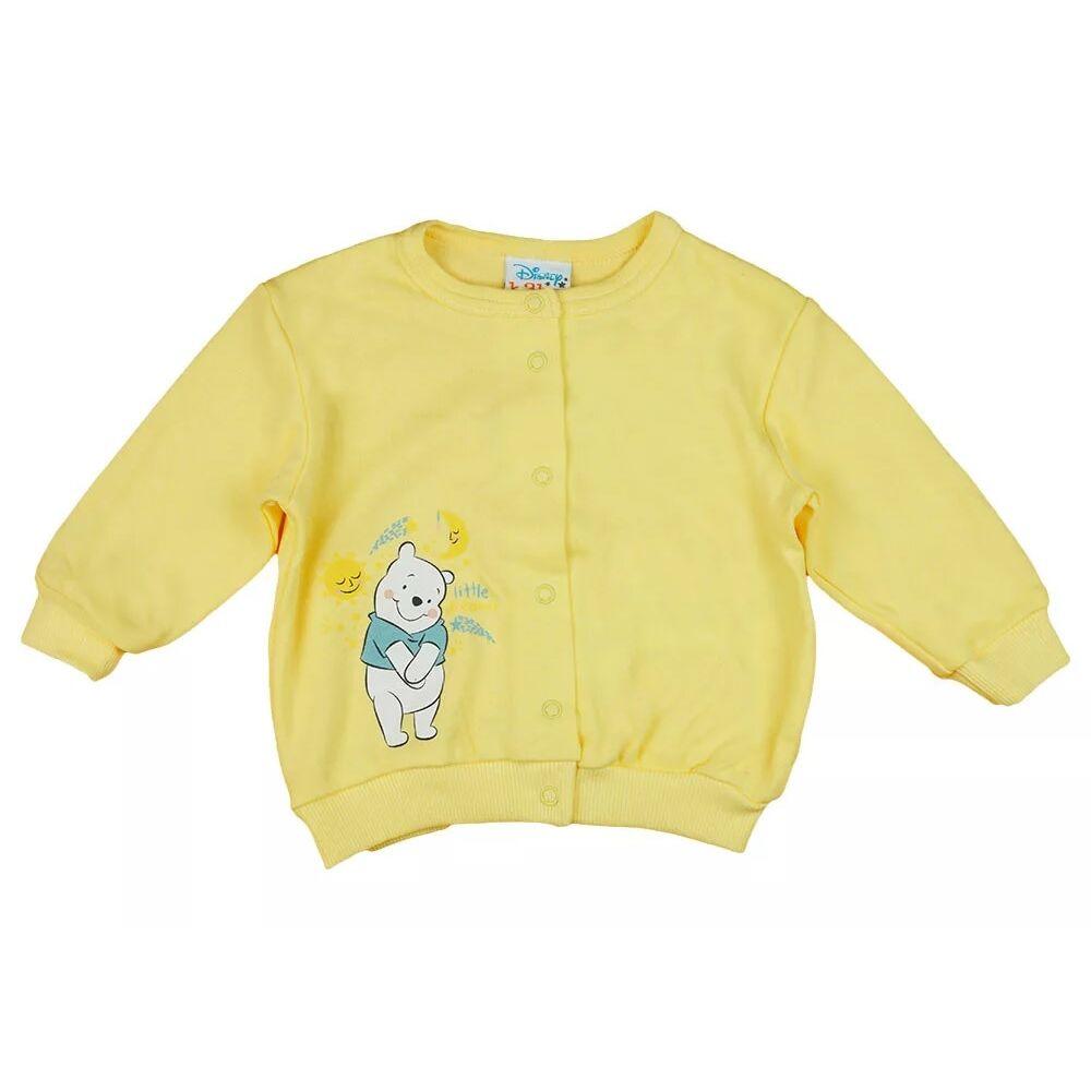 Micimackó mintával nyomott sárga színű baba kardigán, kocsikabát, elején patentos, Disney márka.