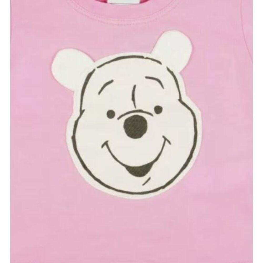Micimackó mintával varrt és nyomott, hosszú ujjú póló, rózsaszín, pamut, minta közeli kép